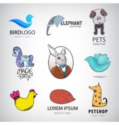 Animal logo collection Bird rabbit cat fox vector image vector image