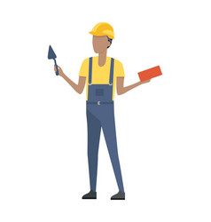 Builder in helmet and blue uniform brick trowel vector