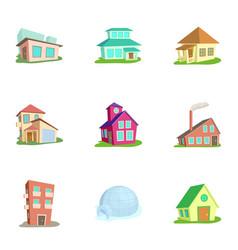 Building icons set cartoon style vector