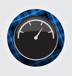 Button with blue black tartan - dial symbol icon vector