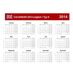 Calendar 2014 English Type 9 vector image vector image