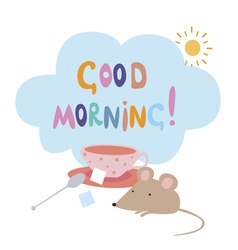 Card with mouse and sugar cubes vector