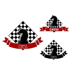 Chess game icons with horse and chessboard vector