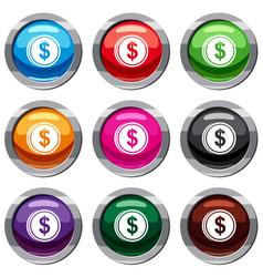 Coin dollar set 9 collection vector