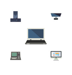 Flat icon laptop set of technology pc display vector