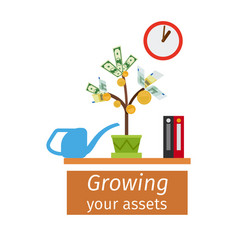 Growing your assets business concept vector