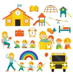 Kindergarten Preschool Teacher and Kids Set A vector image
