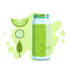 lime and cucumber smoothie non-alcoholic fresh vector image vector image