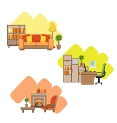 Living room and home office interior design set vector