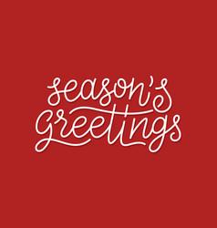 Merry christmas calligraphic line art typography vector
