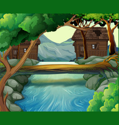old huts by the river vector image vector image