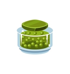 Peas in transparent jar vector