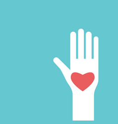 raised hand with heart vector image