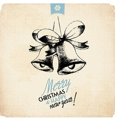 Retro vintage hand drawn christmas greeting card vector