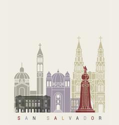 San salvador skyline poster vector