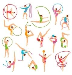 Set of color gymnast girl figures vector
