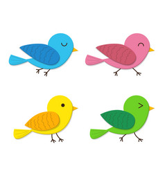 Set of happy baby bird in flat style vector