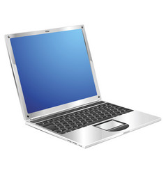 Shiny stylish metallic laptop diagonal view vector
