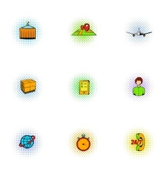 Transfer icons set pop-art style vector
