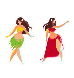 Two hawaiian hula dancer vector