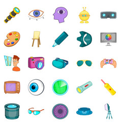 Vision icons set cartoon style vector