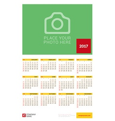 Wall yearly calendar poster for 2017 year design vector