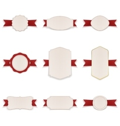 White Banners with red Ribbons Set vector image vector image