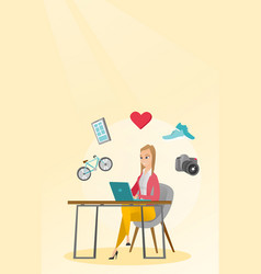 Young caucasian woman shopping online vector