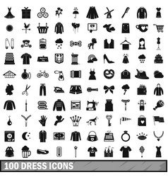 100 dress icons set simple style vector