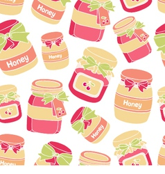 Jars of cherry jam and honey seamless pattern vector