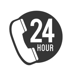Telephone call 24 hour icon graphic vector