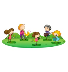 Kids playing music vector