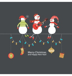 Cute Christmas card with funny company vector image