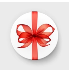 Gift box with red scarlet bow and ribbon vector