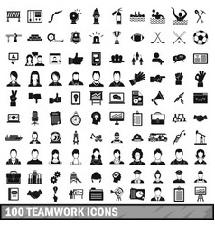 100 team work icons set in simple style vector