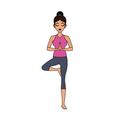 Pretty woman doing yoga yogi icon image vector
