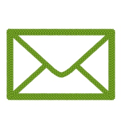 Green four leaf clover of envelope icon vector