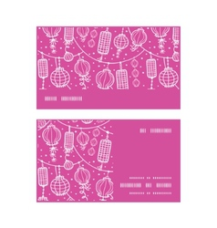 Holiday lanterns line art horizontal stripe frame vector