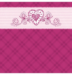 Hand draw hearts on checked pink background vector