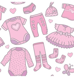 Seamless pattern baby girls clothes vector