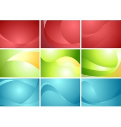 Set of abstract wavy backgrounds vector