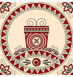 Card with a gift and patterns in ethnic style vector