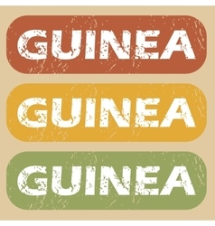 Vintage guinea stamp set vector