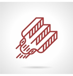 Red line tattoo needle icon vector
