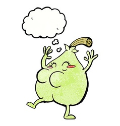 A nice pear cartoon with thought bubble vector