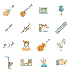 Music icons line set vector