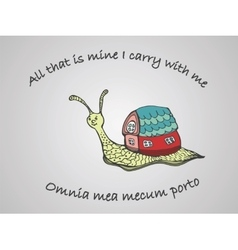 Hand drawn snail with its house vector