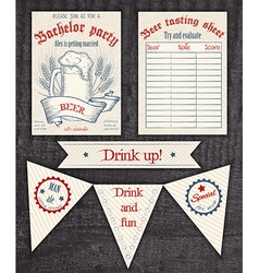 Hand drawn vintage invitation tasting sheet banner vector