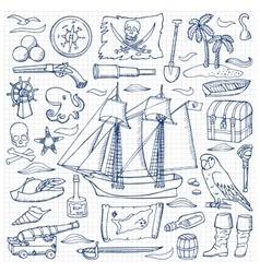 Pirates hand drawn set vector