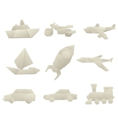 Origami transport collection original flat vector
